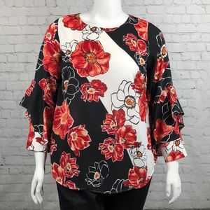 Alfani Floral Ruffle Sleeve Blouse Plus Size 1X